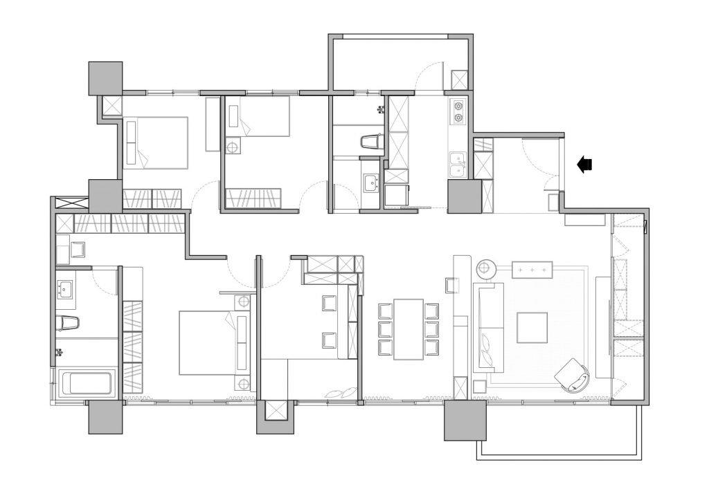 檢討空間配置後,將空間過深的客廳隔出儲物間